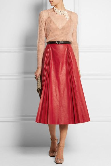 3026cd536 GUCCI Red leather Concealed hook and zip fastening at side 100% leather  (Calf); lining: 100% silk Dry clean Designer color:… | Leather and Pleather  | Moda …
