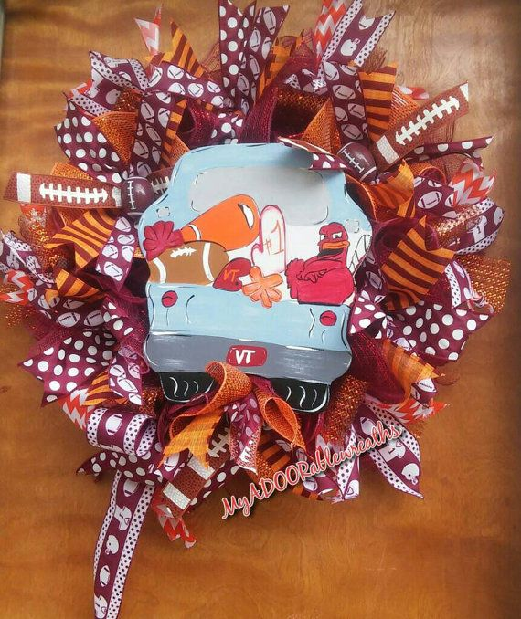 Check out this item in my Etsy shop https://www.etsy.com/listing/456939408/virginia-tech-wreath-vt-football-wreath