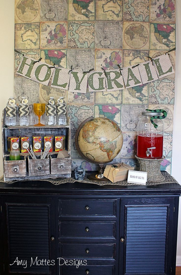 Indiana Jones Party www.aboyslife.etsy.com Holy Grail Drink Bar
