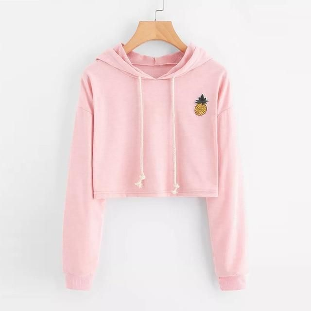 2018 New Women Hoodie Appliques Pinapple Sweatshirt Fashion Long Sleeve Pullover Topsuotelab