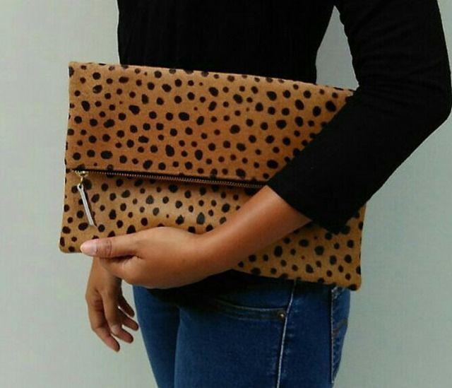 leopard fold over clutch, purse