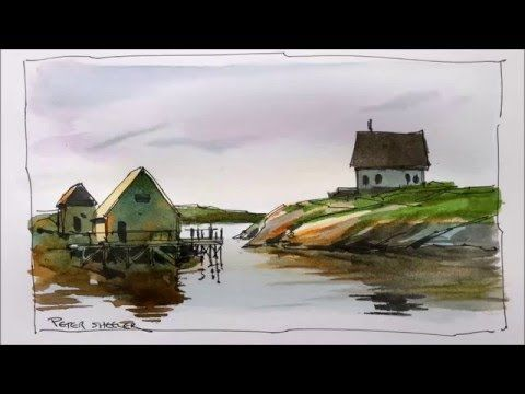 A line and wash watercolor demonstration of an East coast fishing village. Great for beginners - YouTube