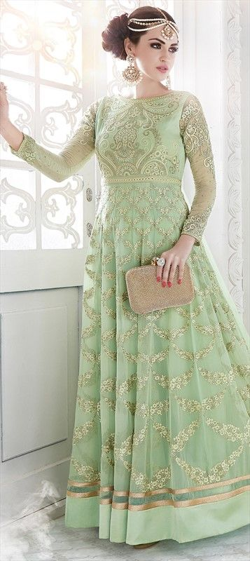 491556 Green  color family Anarkali Suits in Georgette fabric with Machine Embroidery, Stone, Thread work .