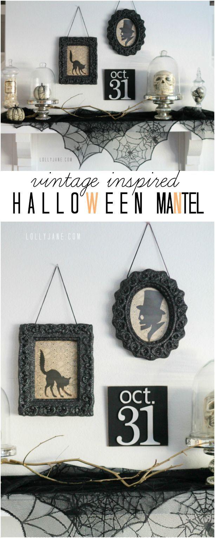 Vintage inspired Halloween mantel | lollyjane.com #halloween #halloweendecor #diy #lbloggers #pbloggers