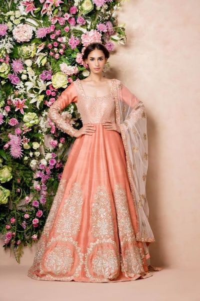 Indian Women Suits - Peach Full Length Anarkali with Silver Embroidery | WedMeGood Outfit by : Shyamal and Bhumika #wedmegood #indianbride #indianwedding #suits #anarkali #peach #silver #bridal #shyamalandbhumika