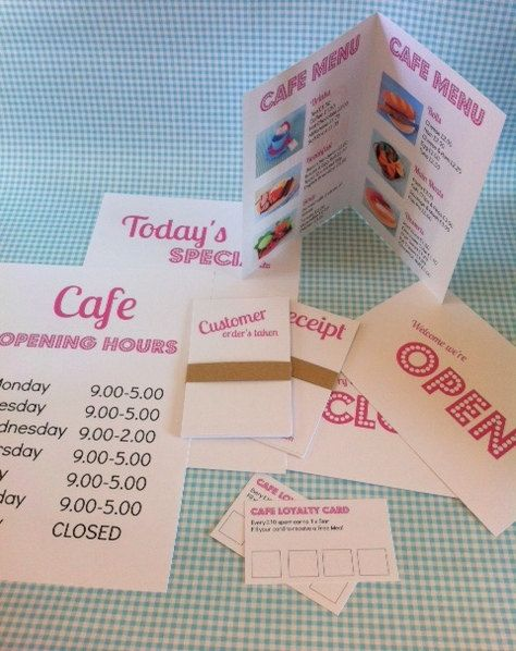 Role Play Pretend / Play Cafe Accessories Set by mummymadeitme, £3.00
