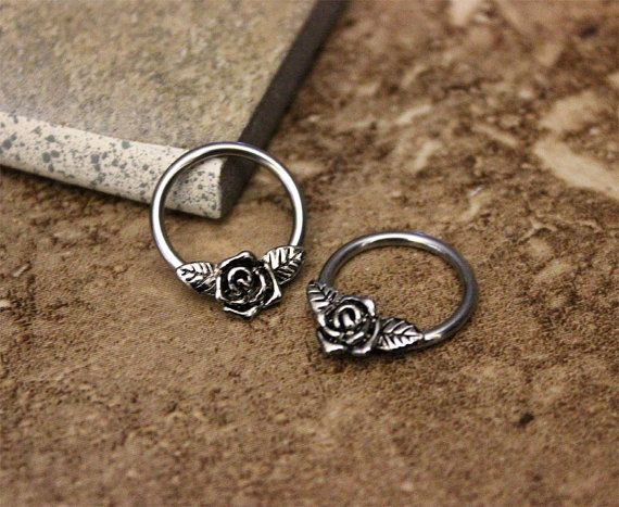 Rose Flower Nipple Ring Hoop, Conch, Helix, Cartilage, Daith, Septum, 316L Surgical Steel Body Jewelry 14G 16G, sold as single hoop