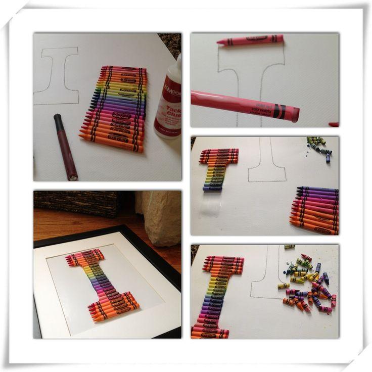 Easy #DIY Crayon Monogram #Craft http://madamedeals.com/diy-crayon-monogram/ #inspireothers