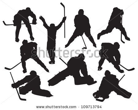 stock vector : vector silhouettes hockey players