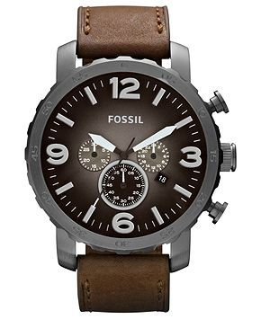 Fossil Watch, Men's Chronograph Nate Brown Leather Strap 50mm JR1424 - For Him - Jewelry & Watches - Macy's