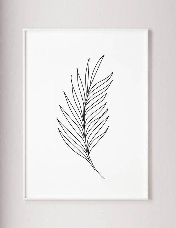 Palm Blatt drucken, Pflanzen Linie Kunst, abstrakte Wand Druck, minimal Art, eine Strichzeichnung, Wabi-Sabi, Kontur Zeichnung, modernen tropischen Plakat