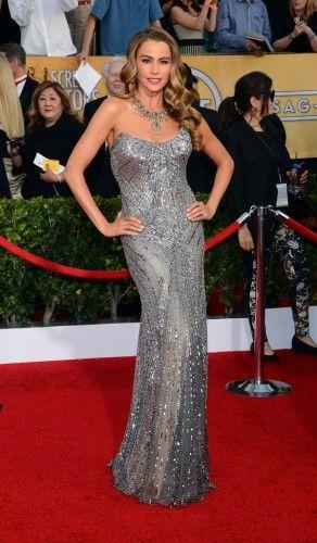 H εκρηκτική Λατίνα πρωταγωνίστρια της σειράς Modern Family, Sofia Vergara, έκλεψε τις εντυπώσεις με την ασημί Donna Karan Atelier δημιουργία που επέλεξε για να εμφανιστεί στα φετινά Sag Awards.