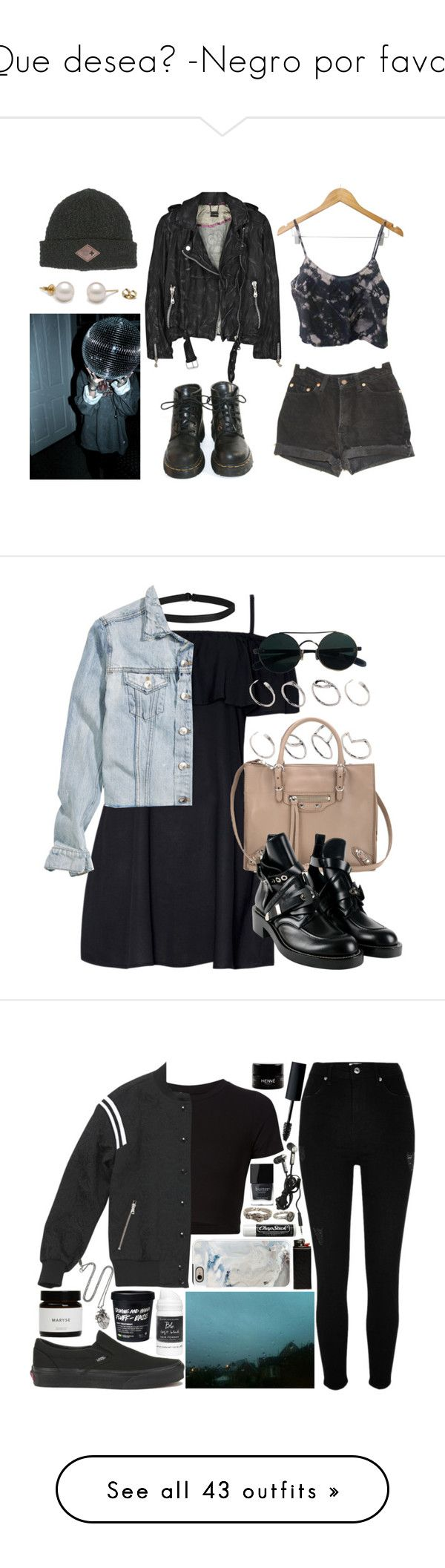 """Que desea? -Negro por favor"" by abigail-15-love ❤ liked on Polyvore featuring Levi's, Billabong, Doma, Dr. Martens, Boohoo, H&M, ASOS, Balenciaga, Getting Back To Square One and Sandro"