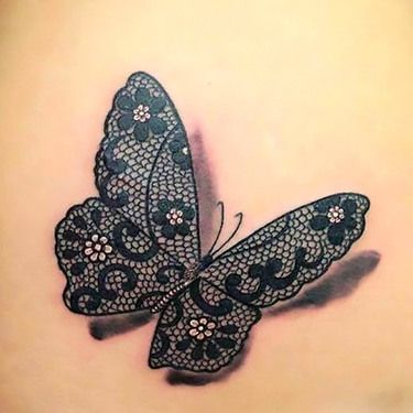 3D Lace Butterfly Tattoo Idea