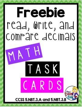 Freebie! This set of 24 task cards covers reading, writing, and comparing decimals and is also part of a 30 set entire year bundle! Great focused practice for your students. (TpT resource)