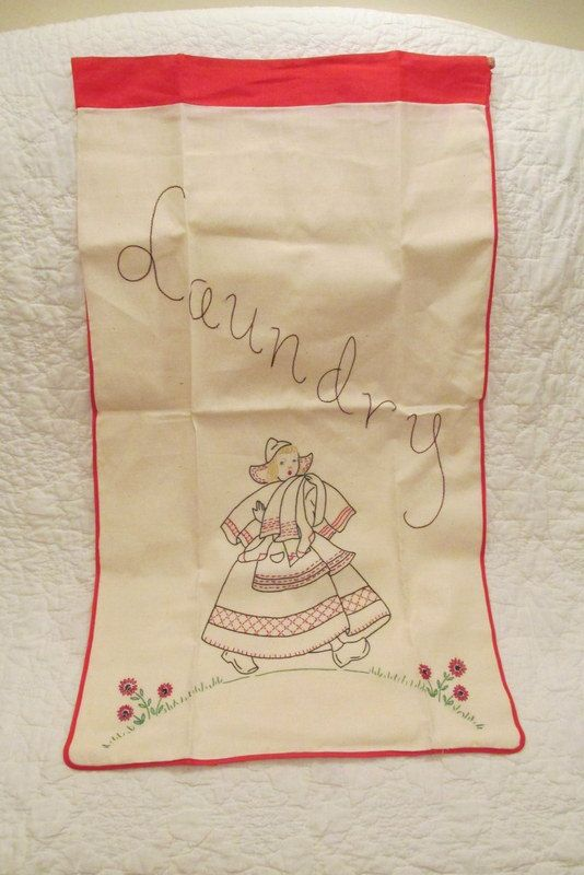 Vintage Laundry Bag Embroidered SALE by rarefinds4u on Etsy