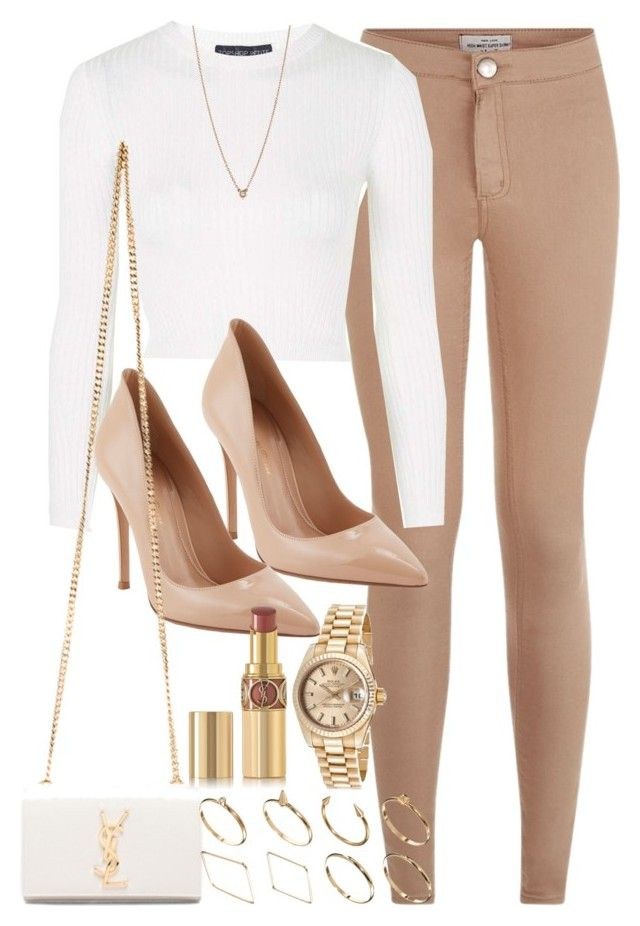 """""""Style #9302"""" by vany-alvarado ❤ liked on Polyvore featuring Topshop, Gianvito Rossi, Yves Saint Laurent, ASOS, Elsa Peretti and Rolex"""