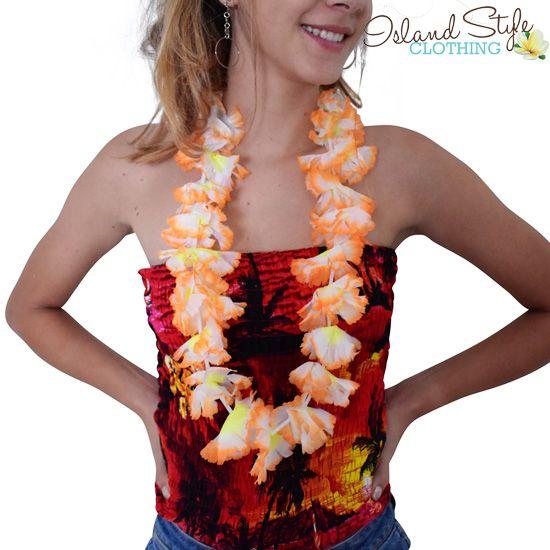 Single Orange Lei - Hawaiian Necklace for fancy dress costume, luau, cruise or schoolies.