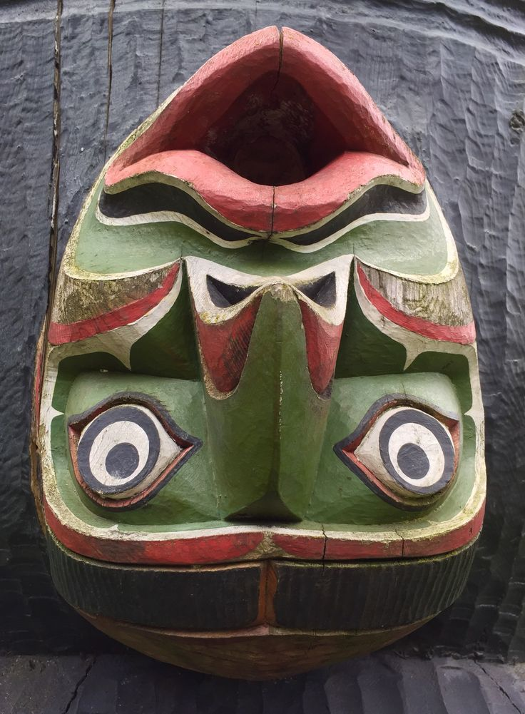 Man in whale blowhole on BC First Nations totem at the BC Royal Museum.
