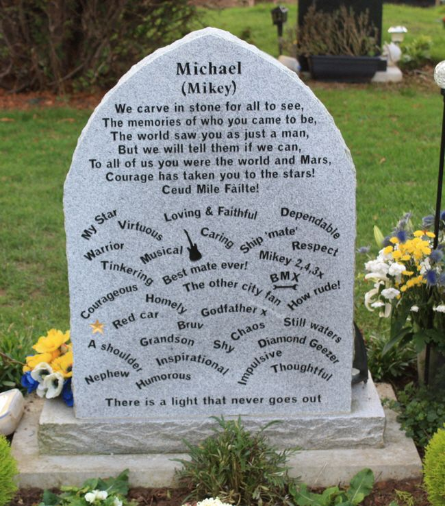 """Headstone for Michael T. Wilson at Kingsthorpe Cemetery, Northampton, England - photo by Martin Nicholson;  The other side of the headstone is also unusual, with the information written in concentric circles. ...""""To live within the hearts of those you love is not to die.""""  (click to see the other side)"""