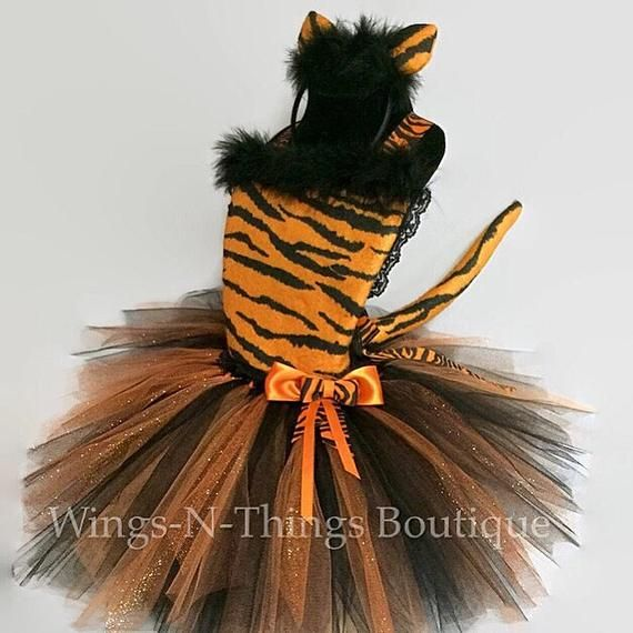 db7dc05f48 TIGER CAT COSTUME Tutu Dress 3pc Set w/ Kitty Ear Headband & Orange Cat  Tail Accessory, Tigger, Rajah, Toddler Halloween, Girl Dance Outfit