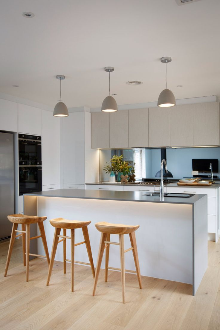 Island chairs for kitchen - Kitchen Inspo Caesarstone Sleek Concrete Benchtop In 20mm With Waterfall