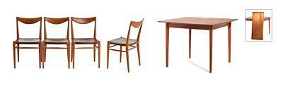 Rastad & Relling tegnekontor AS Gustav Bahus Eftf. 1950-tallet. Teak. Spisebord m/2 illeggsplater. 4 stoler modell 61/2 ''Bambi''  / Nettauksjon 5deler ca 6000,-