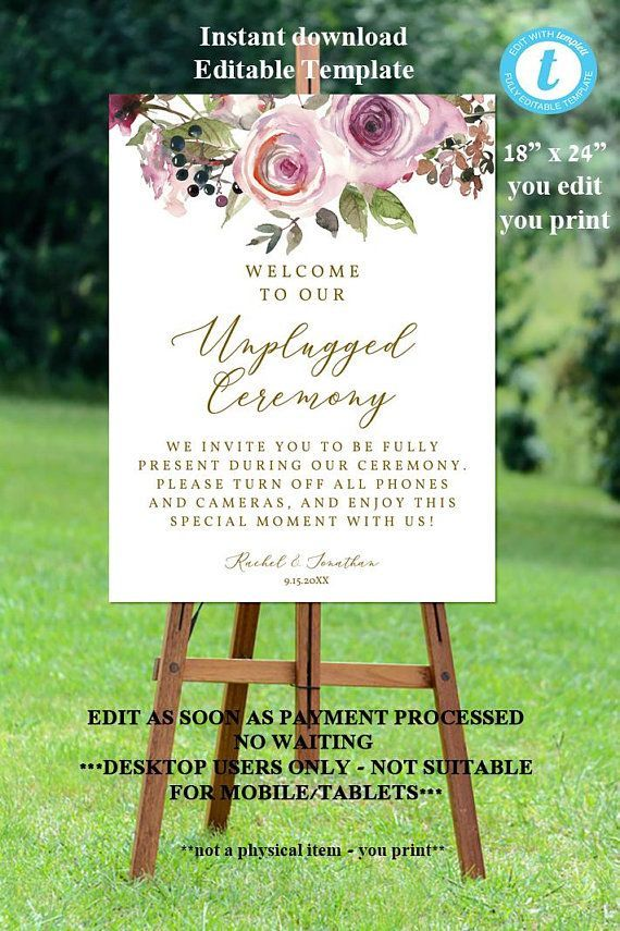 modern secular wedding ceremony script%0A unplugged wedding sign template  unplugged ceremony sign printable  floral  unplugged wedding sign  wedding