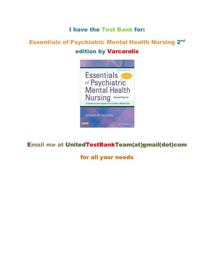 Test Bank Essentials Of Psychiatric Mental Health Nursing 2nd