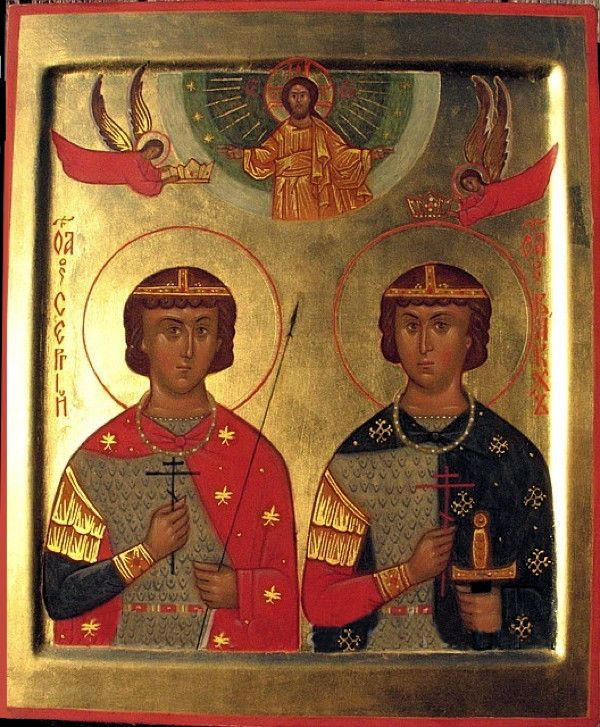 RUSSIA - SMOLENSK - ST SERGIUS AND BACCHUS ICON - Holy martyrs Sergius and Bacchus - Author unknown - Epoch unknown - 25 x 20 cm
