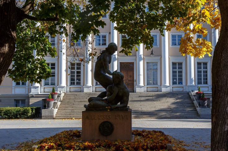 Sculpture in front of the old library in Tampere.