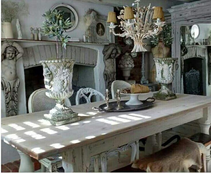 Shabby Chic Küche, Häuschen Im Shabby Stil, Vintage Dekor, Landhaus Dekor,  Küche Und Esszimmer, Französischer Landhausstil, Vignetten, Ländlicher Raum