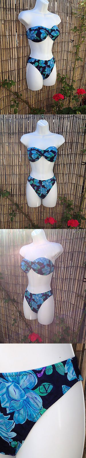 Swimwear 175794: Valentino Bikini Swimsuit Italy 44 L Hi Cut Twist Bandeau Floral Blue Usa Medium -> BUY IT NOW ONLY: $47.7 on eBay!