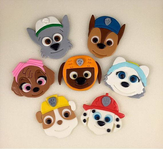 This listing is for (12) Paw Patrol Puppy Toppers. They include: Marshall, Skye, Rocky, Rubble, Chase, Zuma and Everest. You will receive (2)