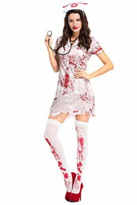 3aca36a57a59f COSMOVIE Horror Halloween Costumes for Women Bloody Nurse Dresses Cosplay  Suit with Headwear Stethoscope #Halloween #Costume #Nurse