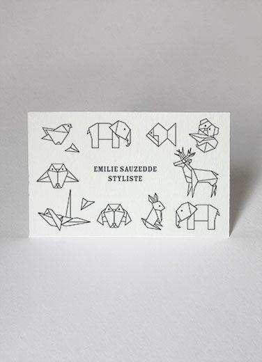 cartes de visite business cards papier tigre personnalisation customize origami