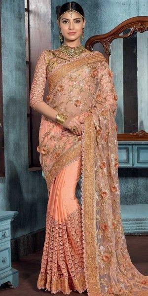 Trendy Orange Net Saree With Blouse.