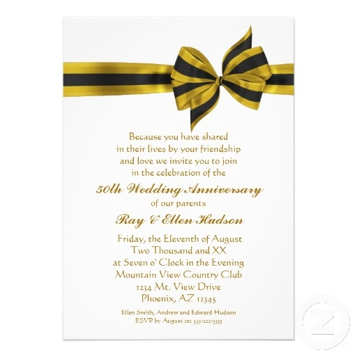 62 best anniversary invitations images on pinterest birthday 50th wedding anniversary announcement wording gold bow 50th anniversary party invitations from zazzle stopboris Gallery