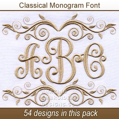 Amazing Embroidery Designs Classical Monogram Font