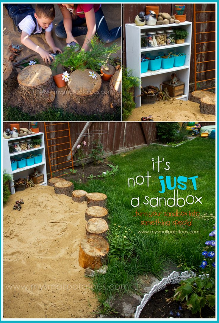 Turn Your Sand Play Area into Something Special...a simple backyard DIY from www.mysmallpotatoes.com