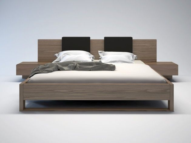 Roma Walnut Contemporary Bed: MONROE BED. 5 Piece Set Includes Bedframe, 2 Floating