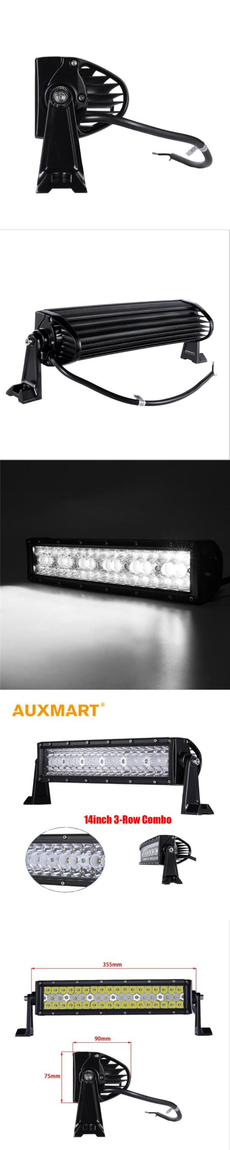 """Auxmart 14"""" LED Car Light Work Bar 3 Row 144W Offroad Driving Combo Beams fit Pickup Tractor Truck SUV 4X4 Wagon jeep"""