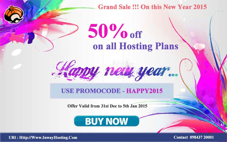 Get 50% off on all hosting plans at inway on this new year festival. this offer will be valid from 31st dec to 5th jan 2015.