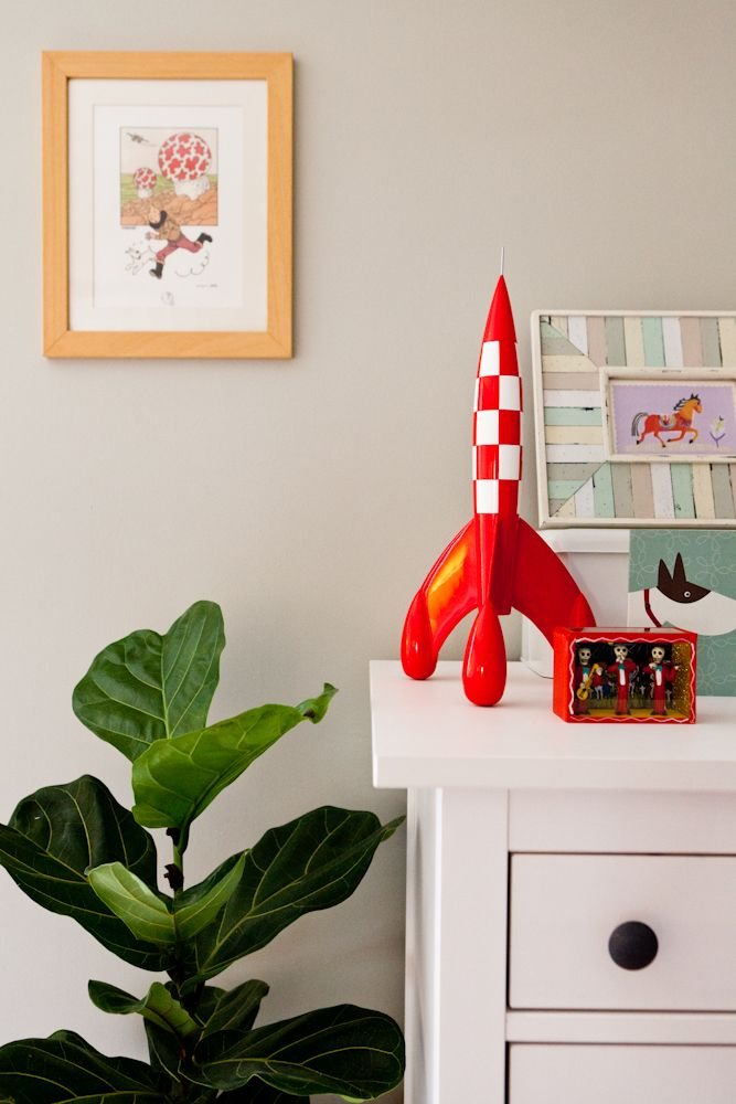 """Maya's bedroom - A quirky retreat. The Tintin artefacts and other personal belongings that are very meaningful to Maya and her husband make the room a """"real"""" and truly well-loved one. Walls painted with Dulux """"Still"""" in half-strength."""