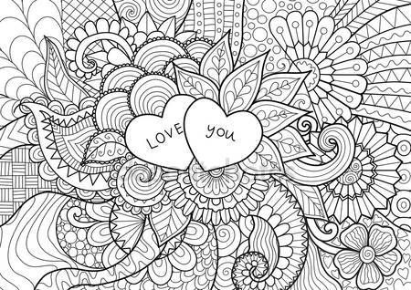 Downloaden - Twee harten op bloemen voor de Kleurplaat boeken voor volwassene of valentines kaart — Stockillustratie #109148152
