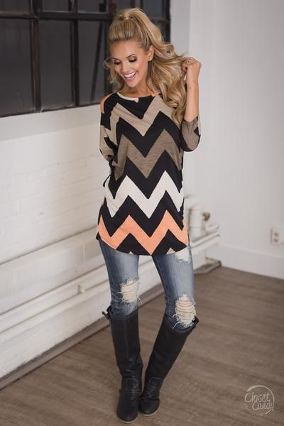 Makes Me Smile Chevron Dolman Top - Coral