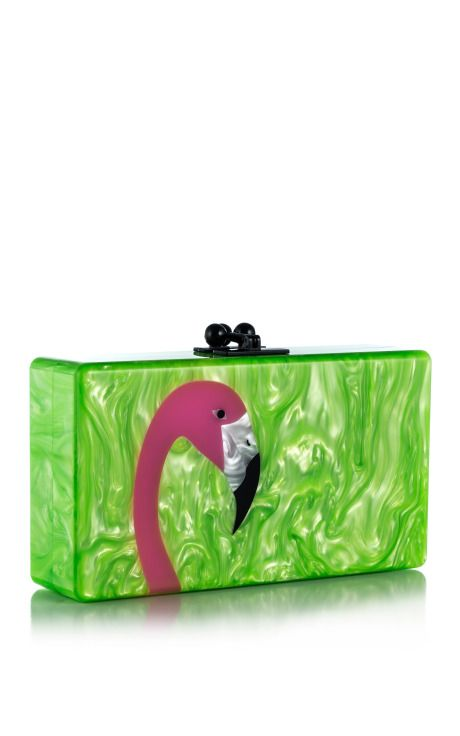 Lime Green Pearlescent/Multi Jean Flamingo by Edie Parker for Preorder on Moda Operandi