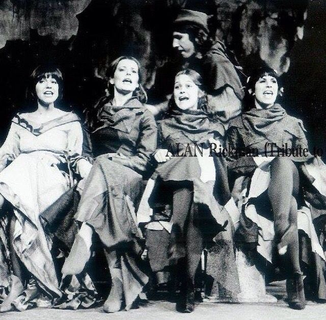 1970s -- Alan Rickman and Rima Horton in an amateur play. It's been suggested that Rima is the one in white - in front left. Alan is behind them.