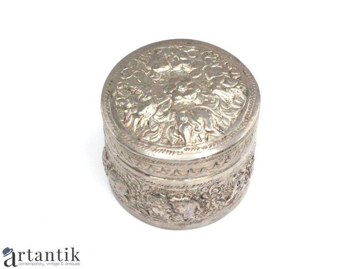 Caseta pentru betel si mirodenii - manufactura in argint - Burma