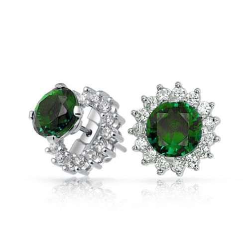 Green Emerald Color CZ Studs and Removable Earring Jackets 925 Silver